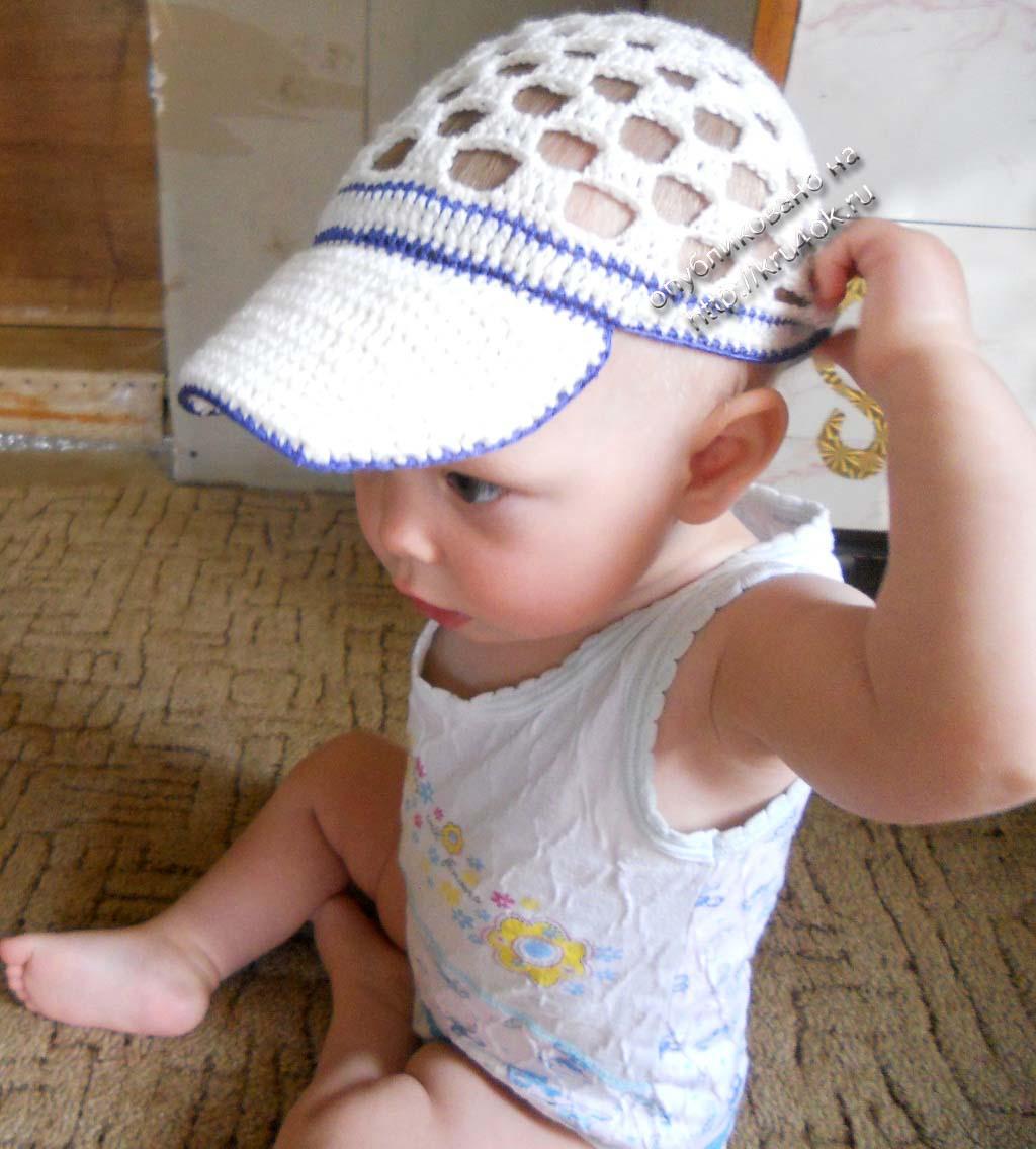 летняя шапочка для мальчика крючком схема