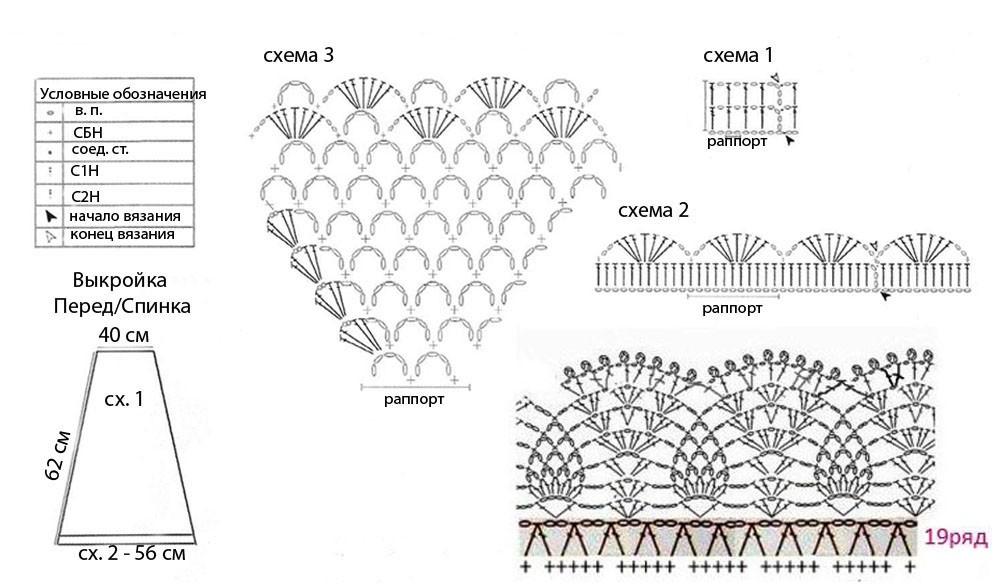 Схемы для вязания крючком для детей платья 50