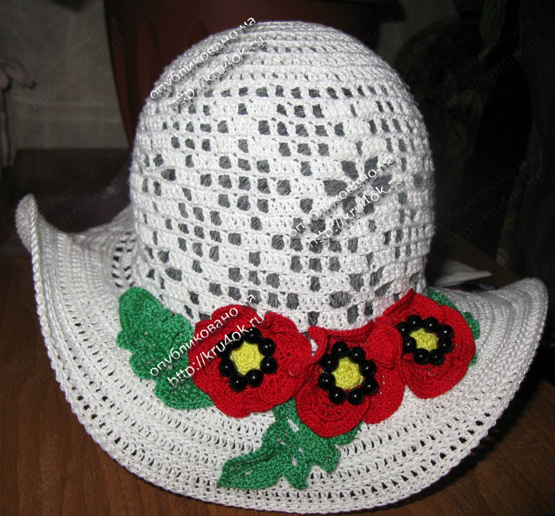шляпа с маками связанная