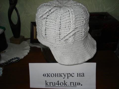 Белая кепка для мальчика связанная крючком