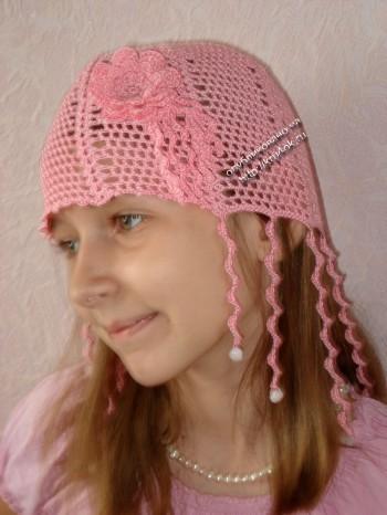 """Летняя шапочка для девочки """"ЗАВИТУШКИ"""""""