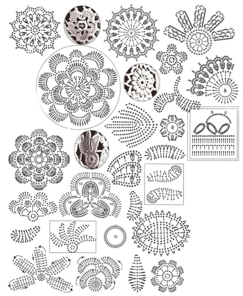Схема вязания листьев: