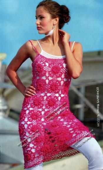 ажурная туника - платье, связанное крючком