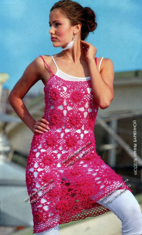 Платья и туники крючком со схемами фото 501