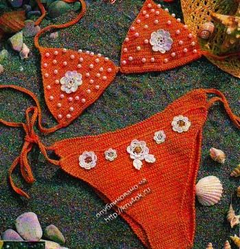 оранжевый купальник бикини, связанный крючком