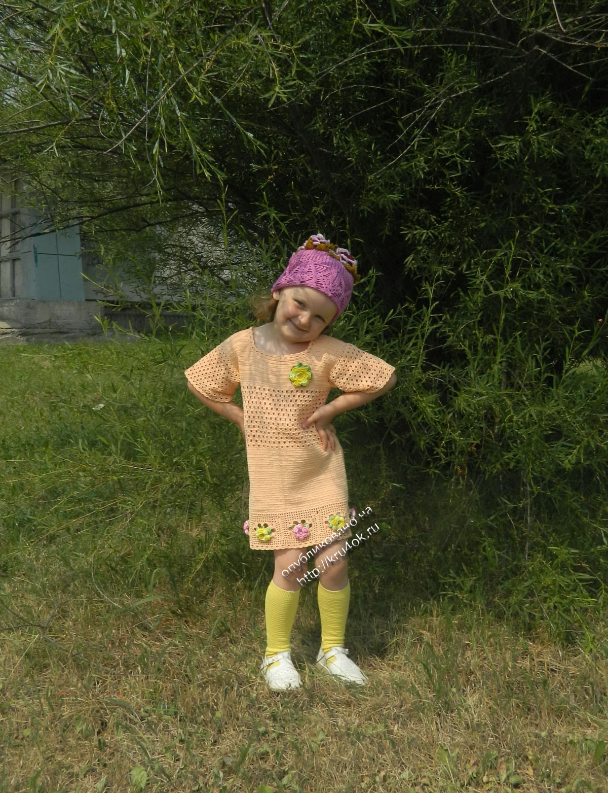 Вязание платья для малышки летнее из ириса