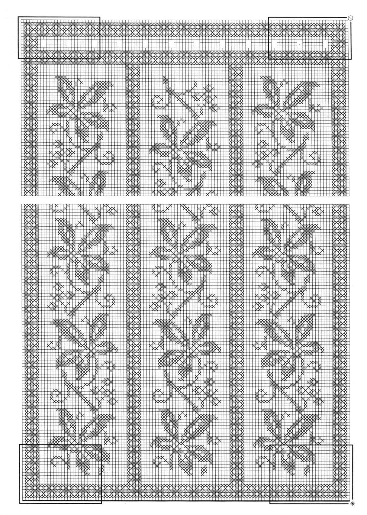 Схемы для филейного вязания занавесок крючком