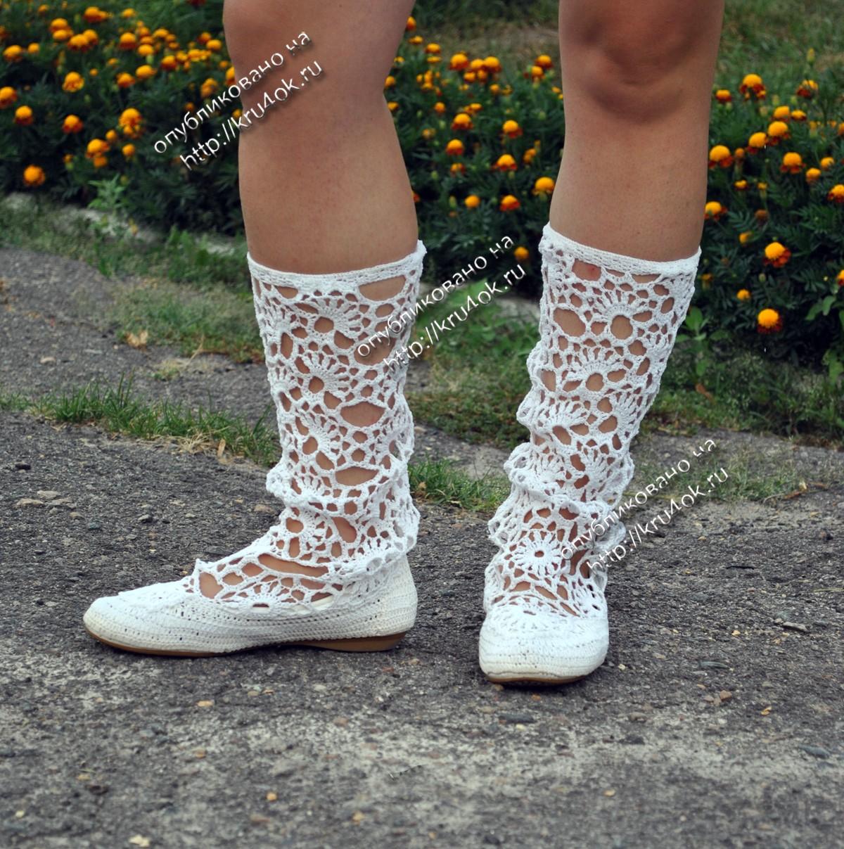схема вязания крючком сандали