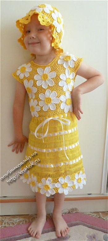 детское платье и шапочка, связанные крючком