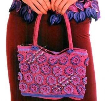 Яркая сумочка, связанная крючком