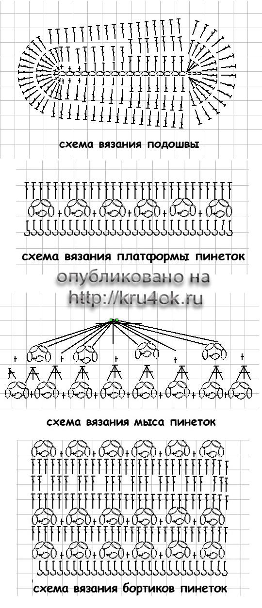 Вязание крючком лаптей схема 25