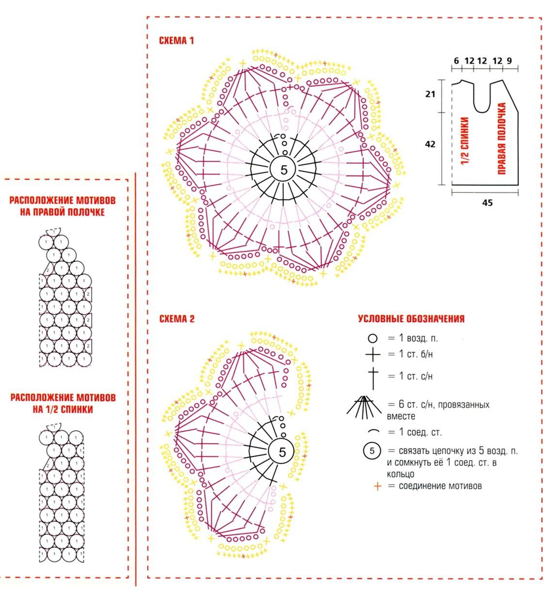 ажурные цветки, соединяя их между собой в последнем ряду по схемам расположения мотивов. связать.