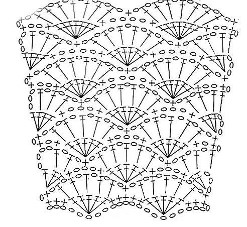 Схема платья узором ракушки .