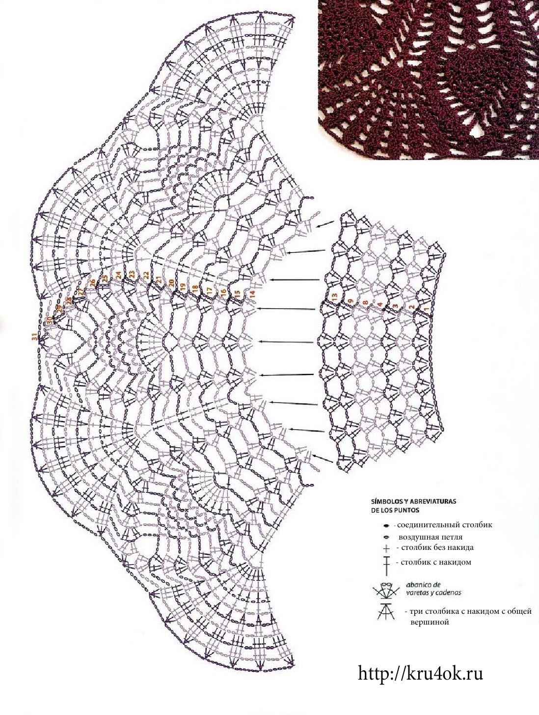 схема вязания крючком костюм снежинки