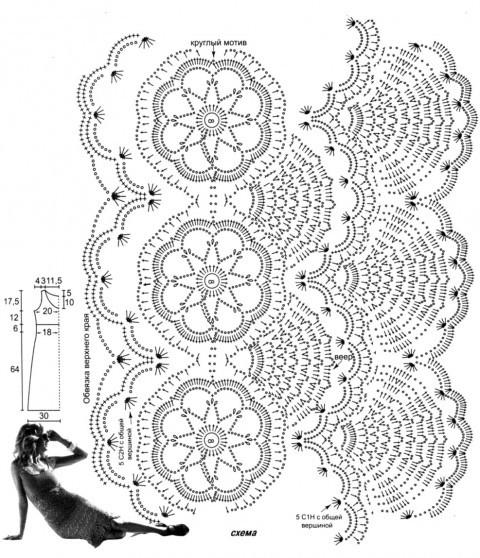 Коралловый сарафан, связанный крючком