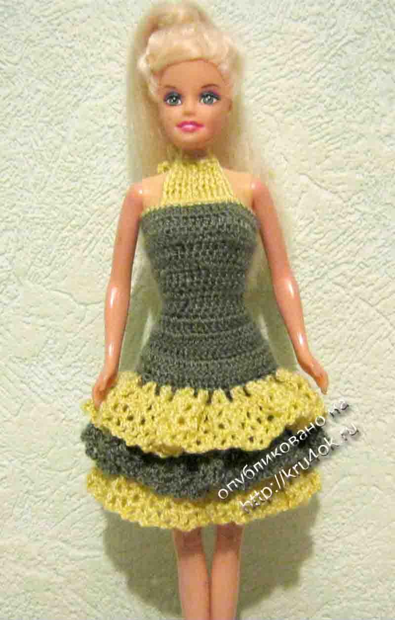 Вязаное платье на барби схемы