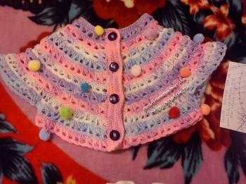 Разноцветное пончо для 11-летней девочки.  Вязание крючком.