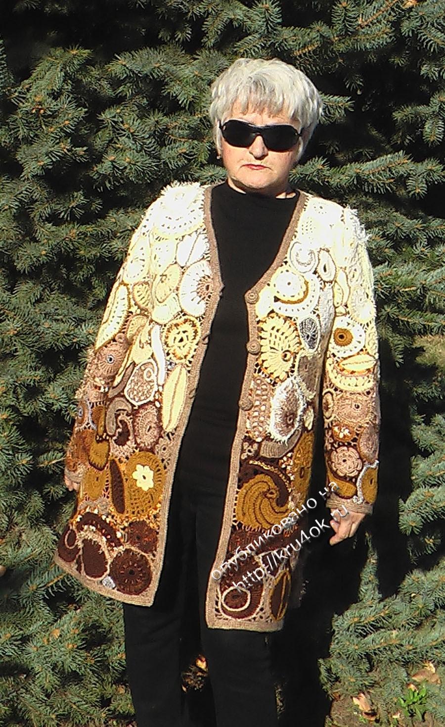 пальто в технике фриформ