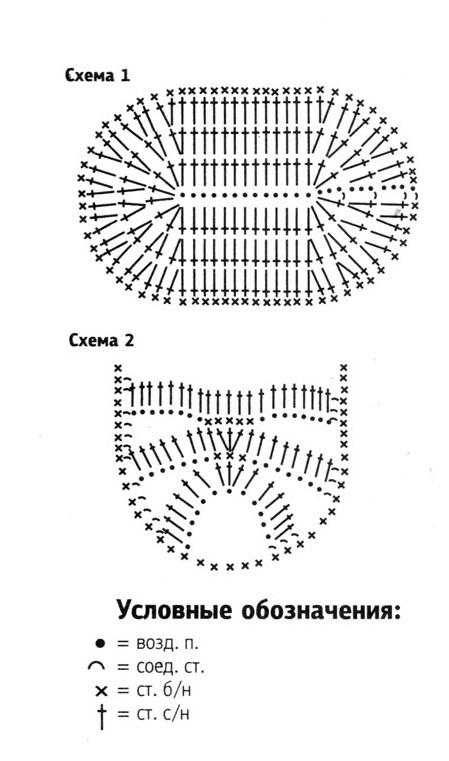 схема вязаных крючком пинеток