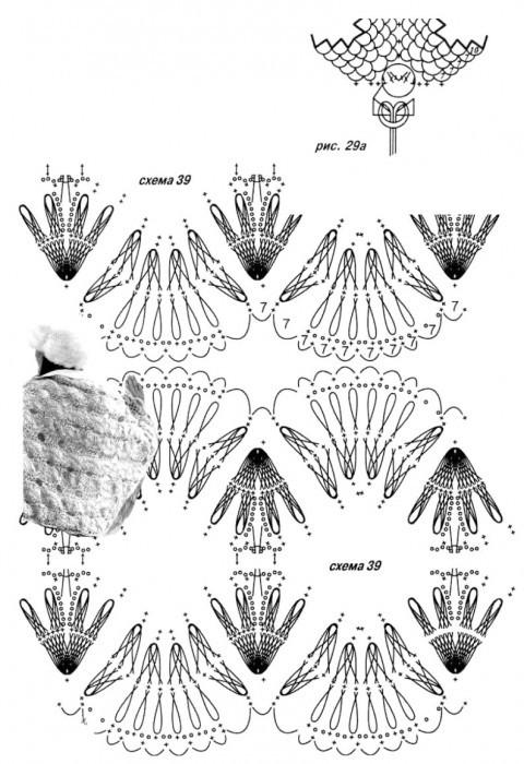 схема палантина, связанного крючком на вилке