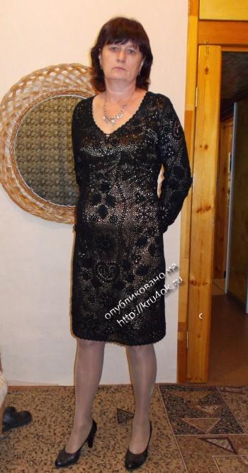фото вязаного крючком платья в технике ирландского кружева