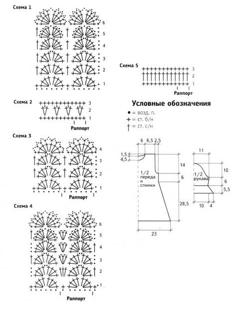 схема вязания и выкройка платья