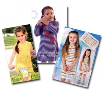Вязаные спицами детские платья со схемами и описанием.  Вязание крючком.