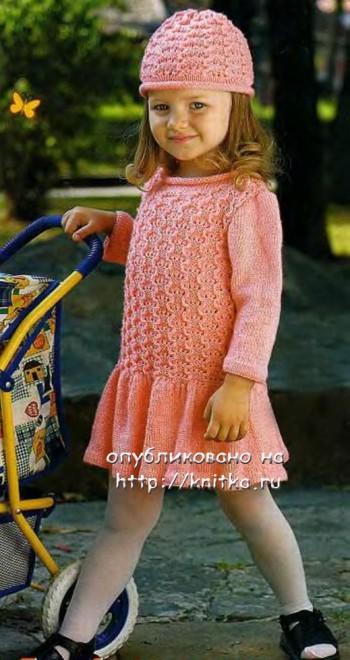 фото детского платья, связанного спицами