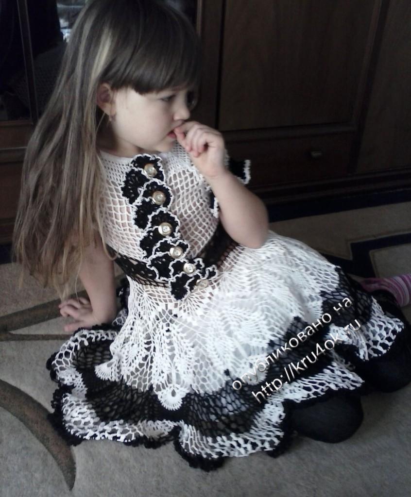Ажурное платье для девочки 6 лет, связанное крючком