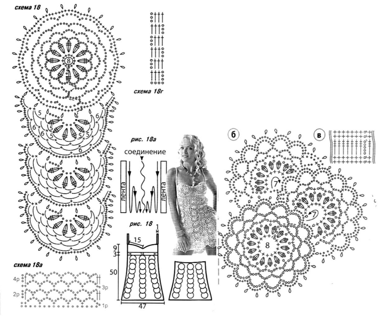 Схемы вязания сарафана.  Модель Маргариты Бортниковой из журнала Мод.  Сарафан выполнен в технике ленточного кружева.