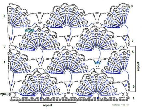 схема узора объемные ракушки