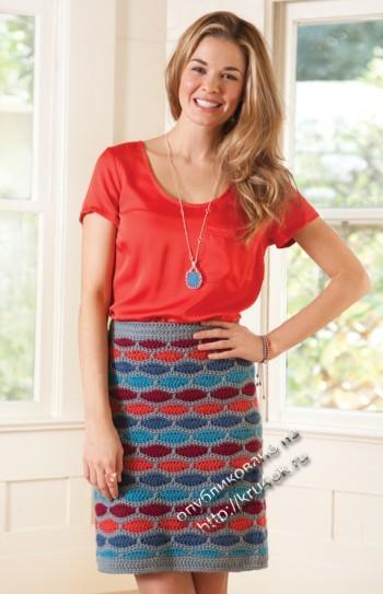 фото юбки, связанной крючком