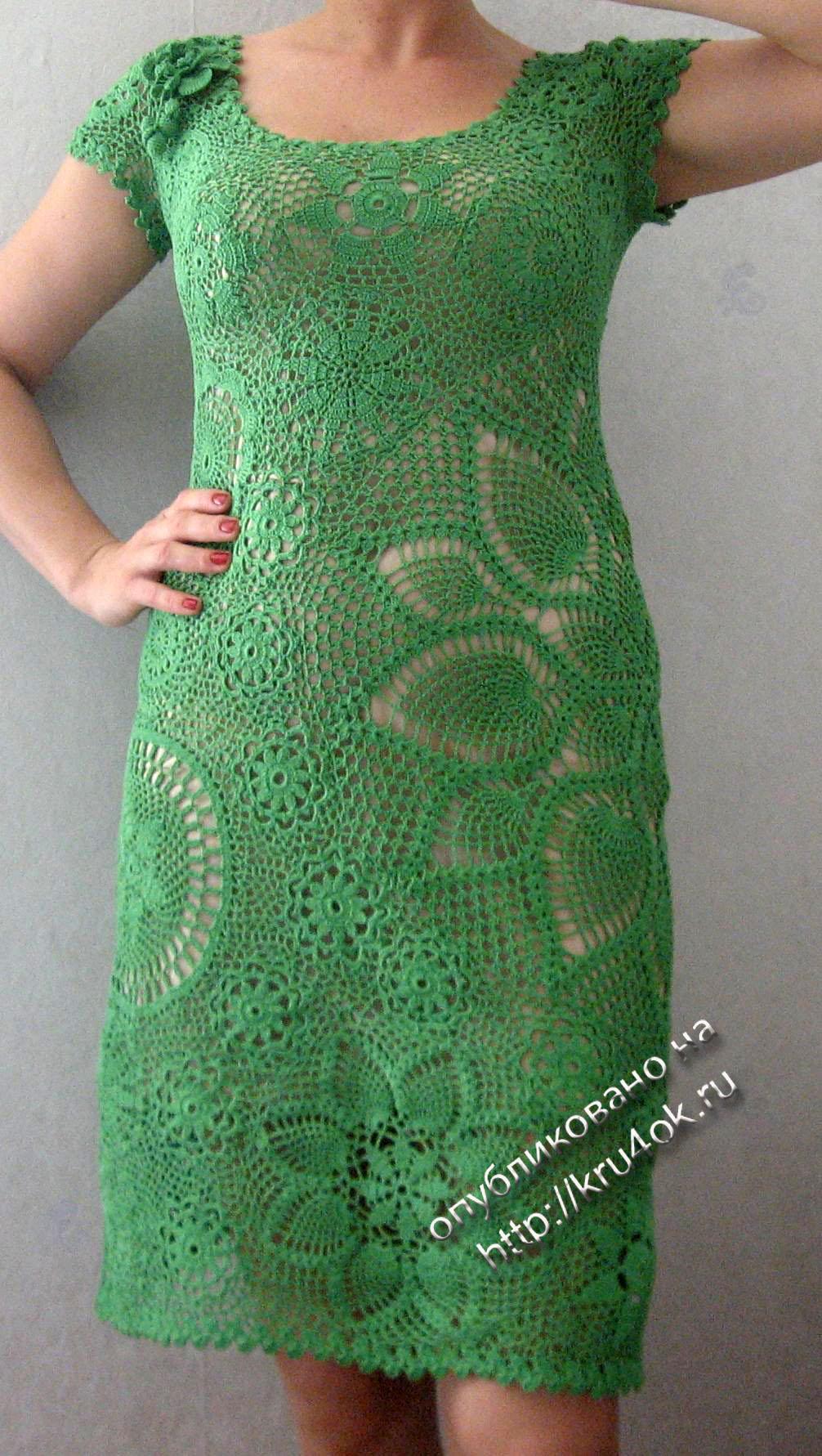 Ирландские вязки крючком платья