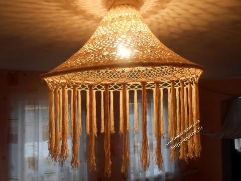 фото вязаного абажура