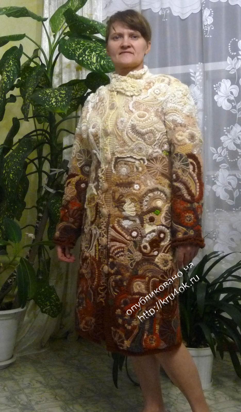 схема вязания модного женского пальто