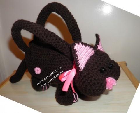 фото вязаной сумки кошки