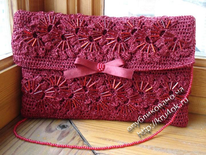 схема вязаной сумки из ленточной пряжи