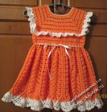 фото вязаного крючком платья для девочки