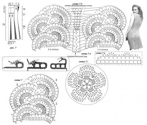 Ажурное платье схема вязания: