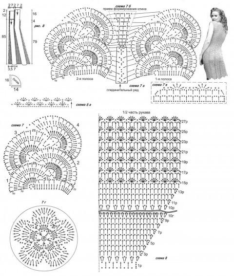 схема вязания платья в технике ленточного кружева