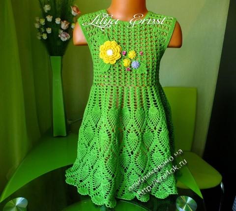 Детское платье крючком, работа Лилии Федоровны