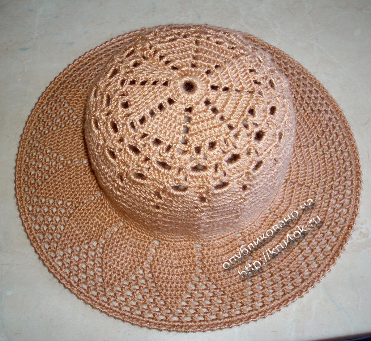 Симпатичная шляпка крючком.