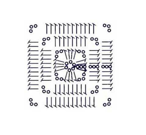 Схема вязания квадратного мотива:
