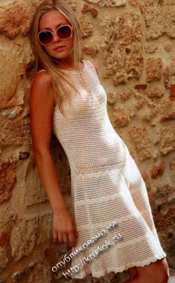 фото вязаного крючком платья