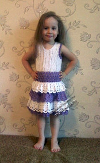 фото вязаного крючком детского платья