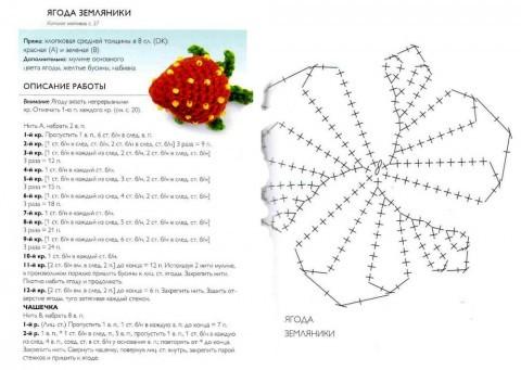 схема вязания клубнички