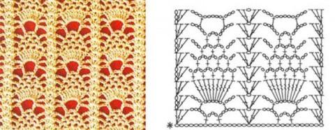 схема вязания крючкомузора «ананас»