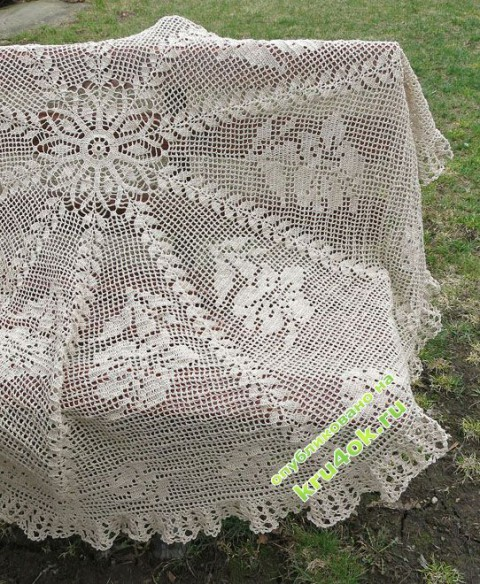 фото вязаной крючком скатерти