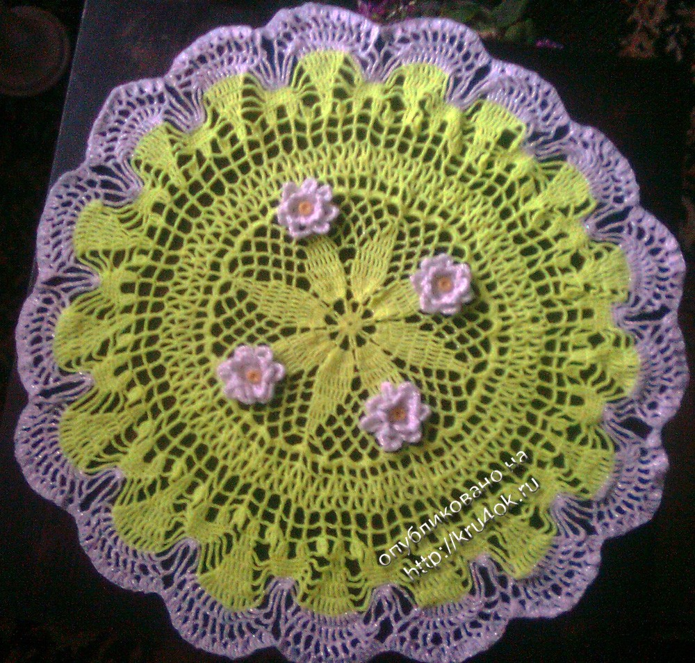 Крючком салфетки цветами