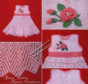 фото вязаного детского платья